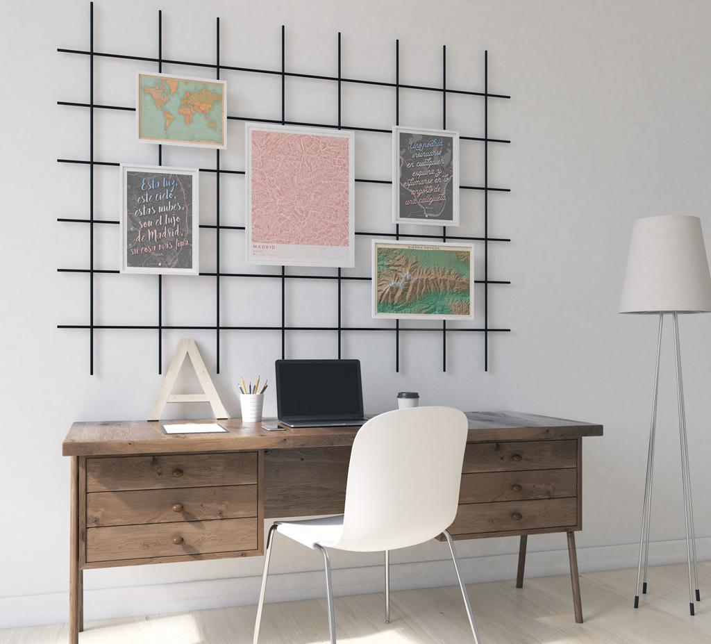 Composición de cuadros con mapas colocados en una rejilla