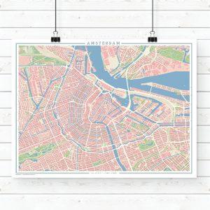 Mapa estilo vintage de Ámsterdam