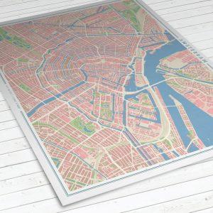 Vista del mapa de Ámsterdam con estilo Vintage
