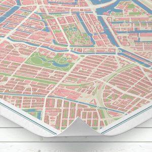 Detalle del mapa de Ámsterdam con estilo Vintage