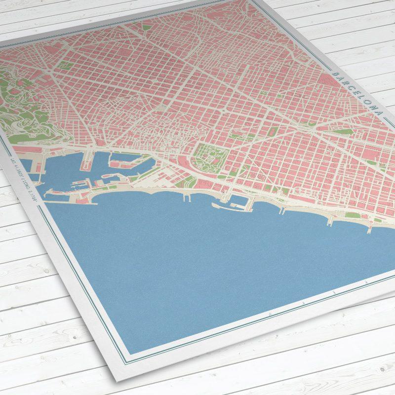 Vista del mapa de Barcelona con estilo Vintage