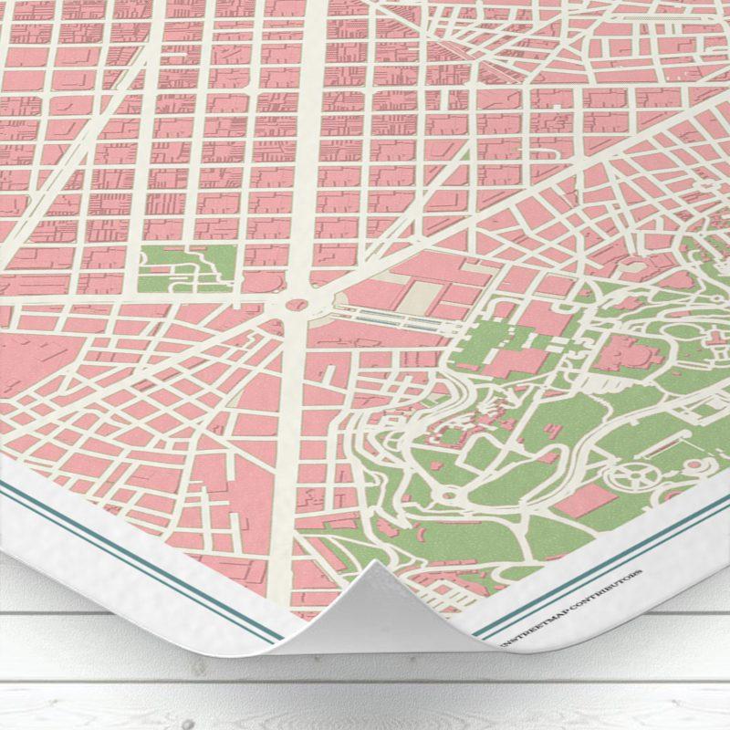 Detalle del mapa de Barcelona con estilo Vintage