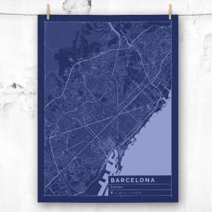 Mapa de estilo Blueprint de Barcelona