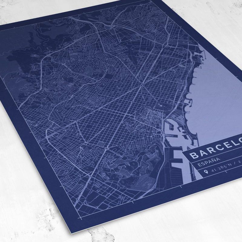 Vista del mapa de estilo Blueprint de Barcelona