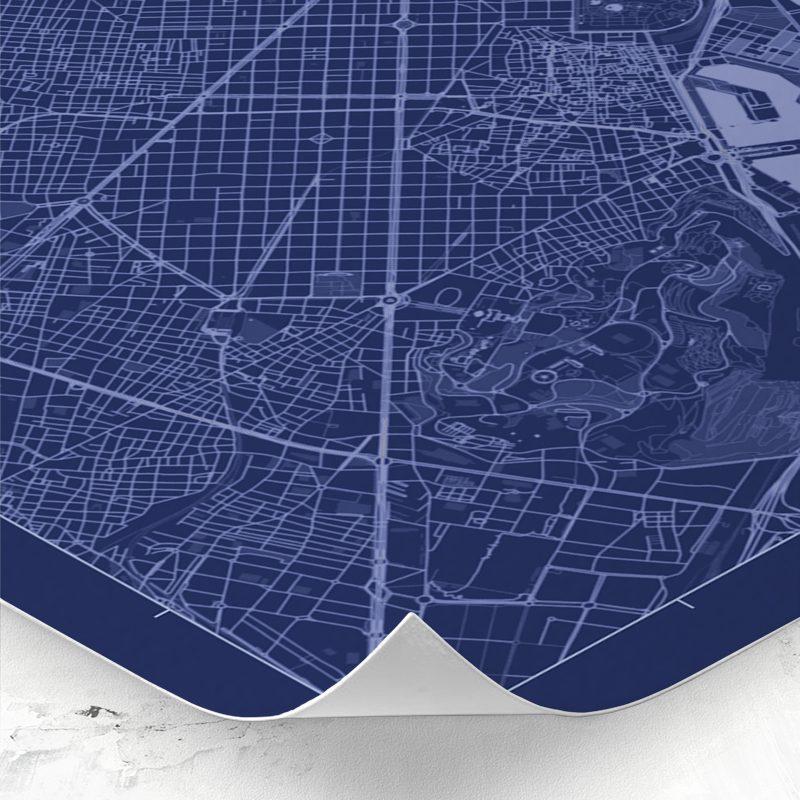 Detalle del mapa de estilo Blueprint de Barcelona