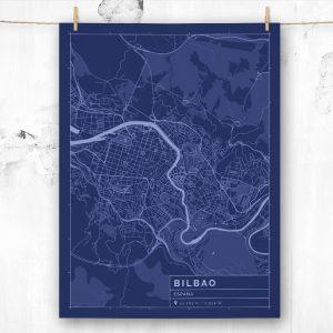 Mapa de estilo Blueprint de Bilbao