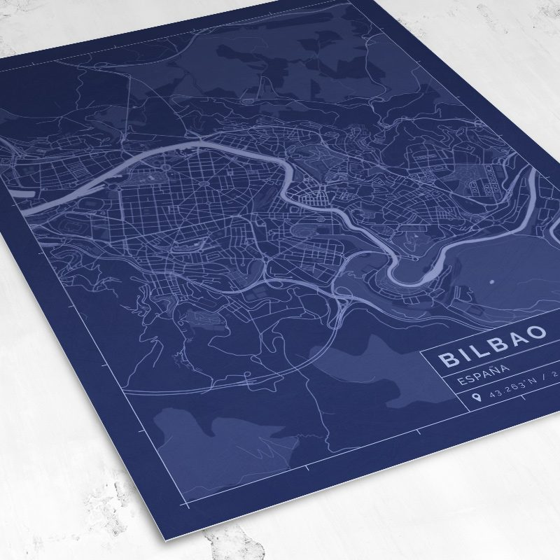 Vista del mapa de estilo Blueprint de Bilbao