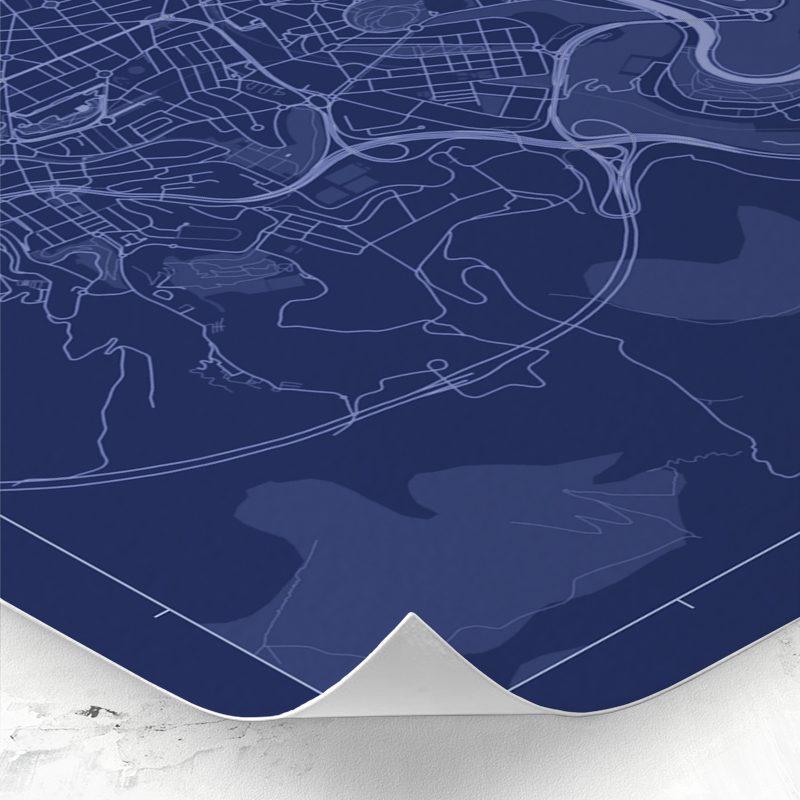 Detalle del mapa de estilo Blueprint de Bilbao