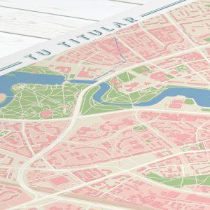 Detalle superior del mapa estilo vintage para personalizar