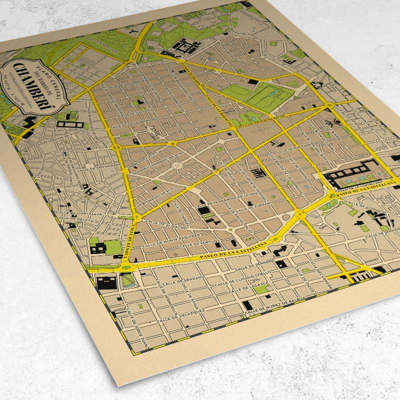 Vista del plano del Barrio de Chamberí de Madrid
