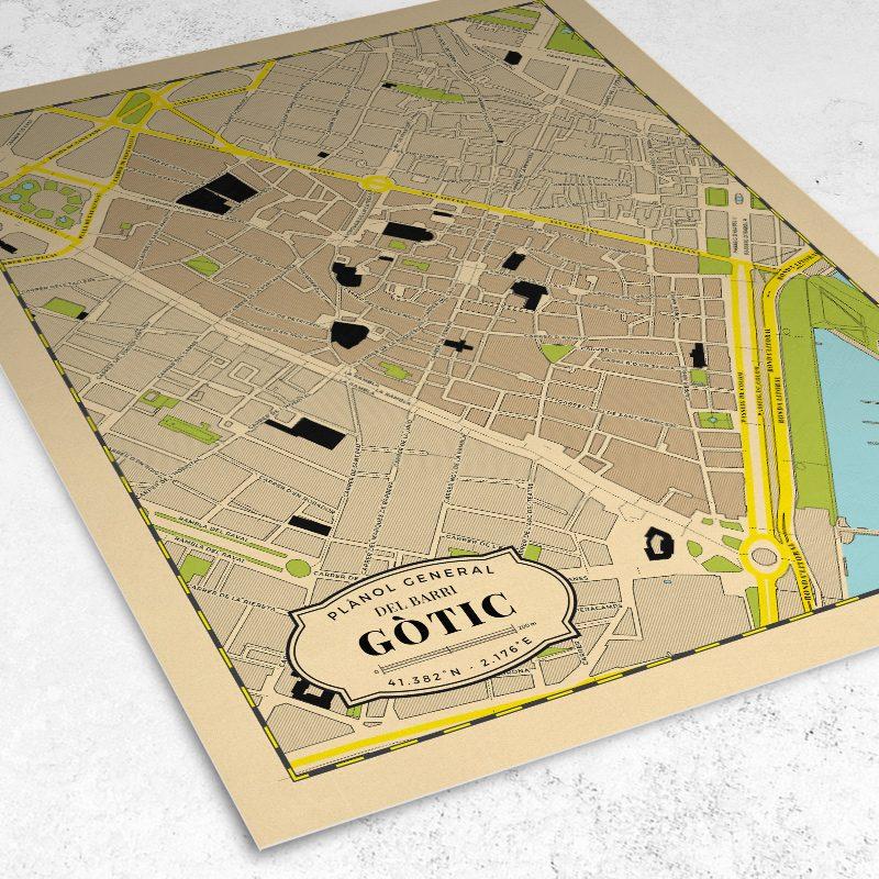 Vista del plano del Barrio Gótico de Barcelona