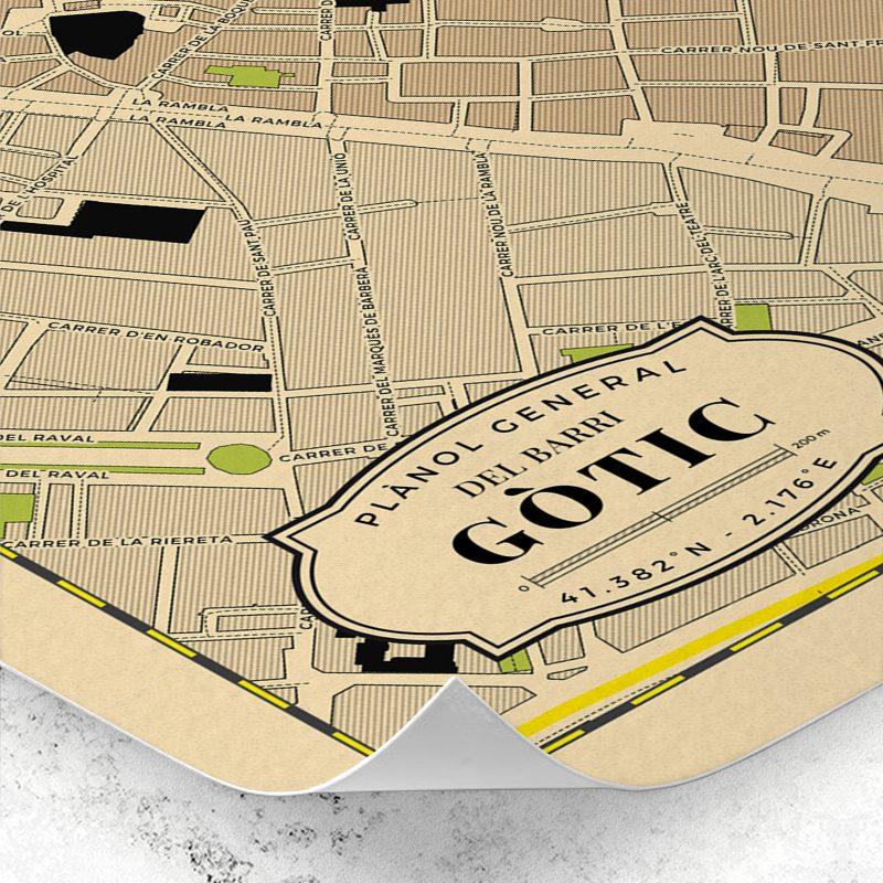 Detalle del plano del Barrio Gótico de Barcelona