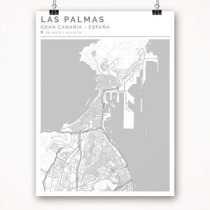 Mapa con estilo Clean de Gran Canaria - 30 x 40
