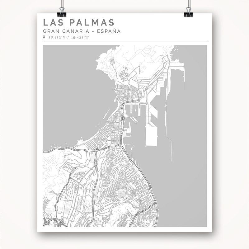 Mapa con estilo Clean de Gran Canaria - 40 x 50