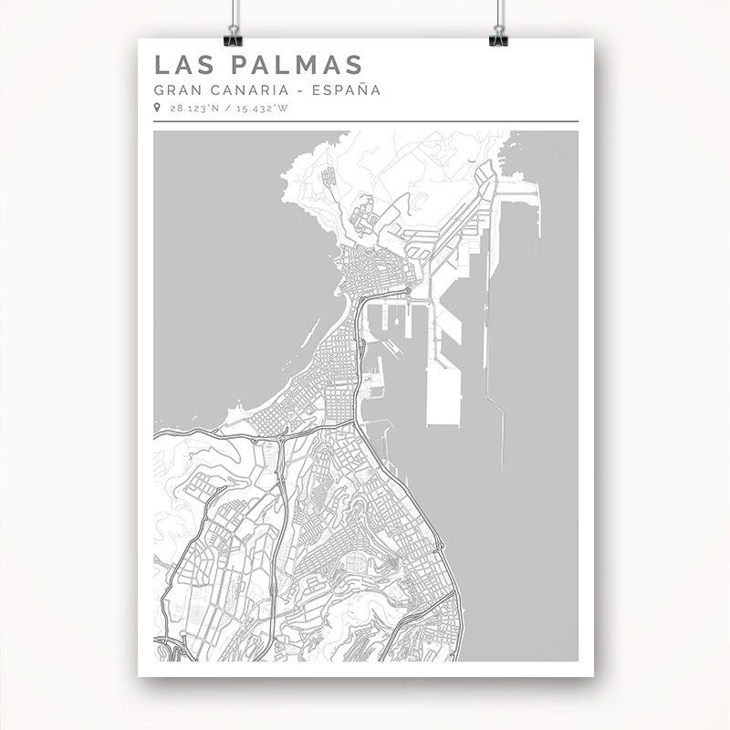 Mapa con estilo Clean de Gran Canaria - 50 x 70