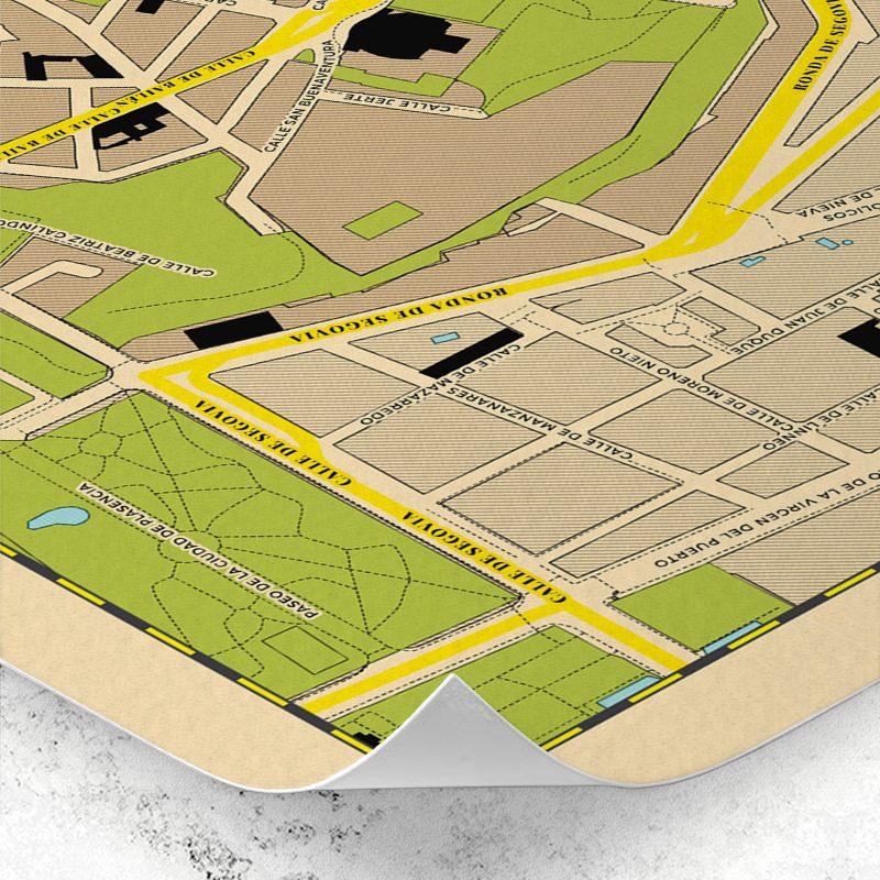 Detalle del plano del Barrio de La Latina de Madrid