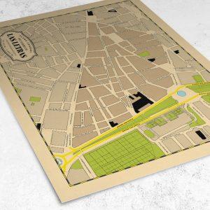 Vista del plano del Barrio de Las Letras de Madrid