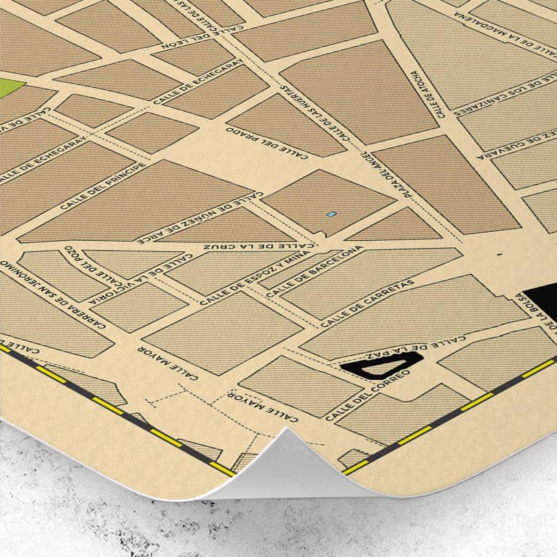 Detalle del plano del Barrio de Las Letras de Madrid