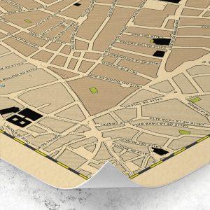 Detalle del plano del Barrio de Lavapiés de Madrid