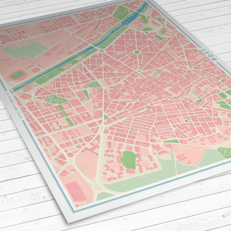Vista del mapa de León con estilo Vintage