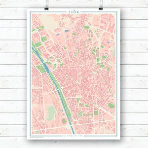 Mapa estilo vintage de León en vertical