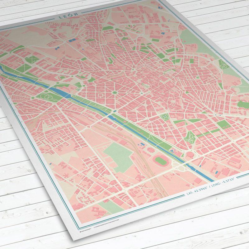 Vista del mapa de León con estilo Vintage en vertical