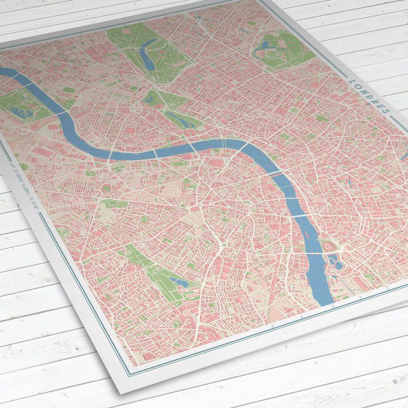 Vista del mapa de Londres con estilo Vintage