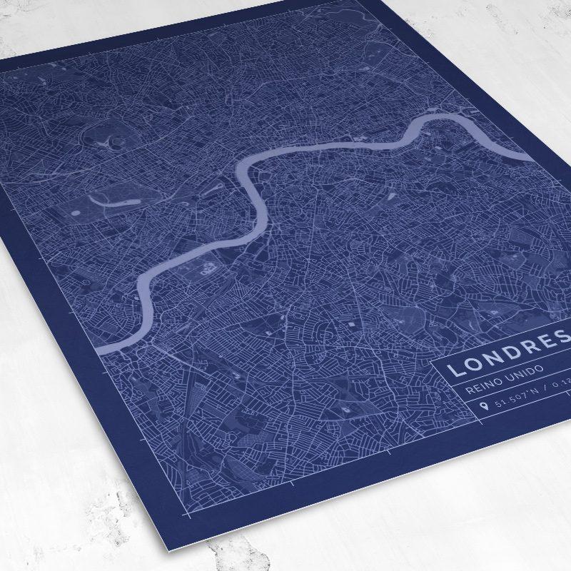 Vista del mapa de estilo Blueprint de Londres