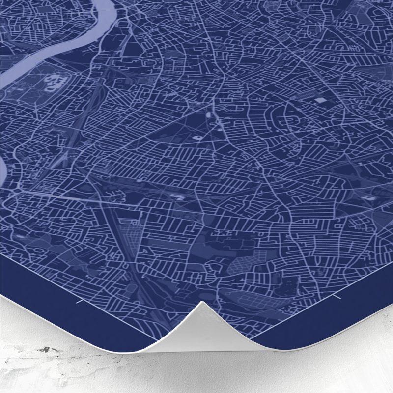 Detalle del mapa de estilo Blueprint de Londres