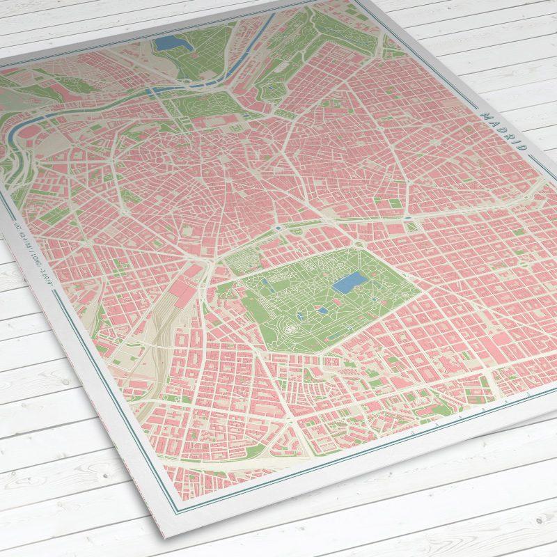 Vista del mapa de Madrid con estilo Vintage