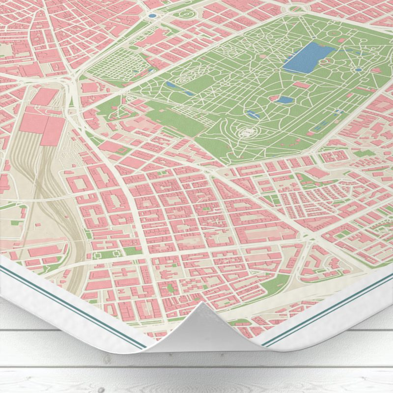 Detalle del mapa de Madrid con estilo Vintage