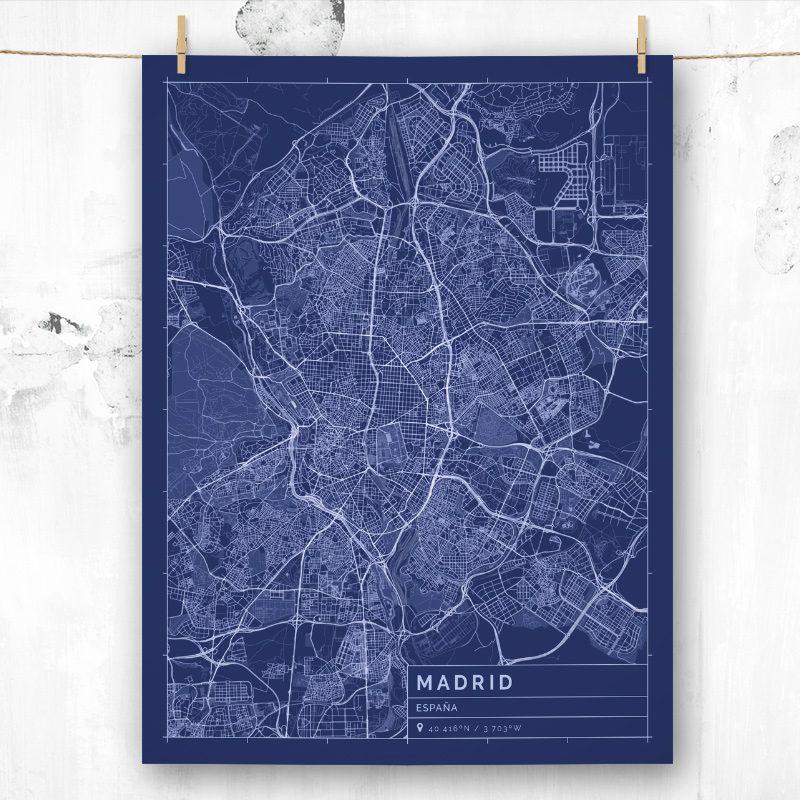 Mapa de estilo Blueprint de Madrid