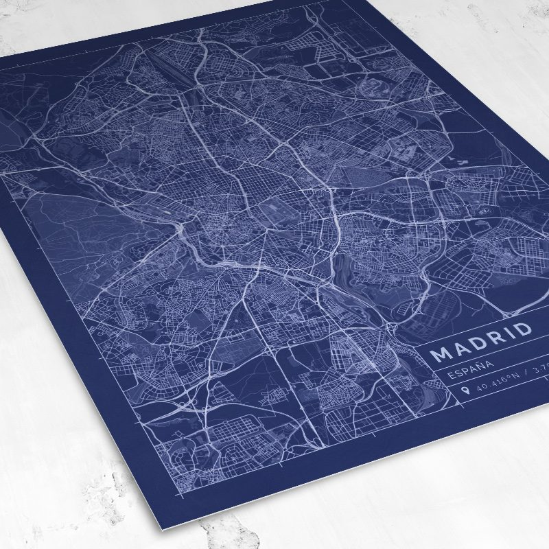 Vista del mapa de estilo Blueprint de Madrid