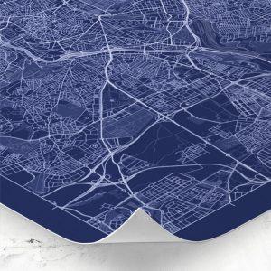 Detalle del mapa de estilo Blueprint de Madrid