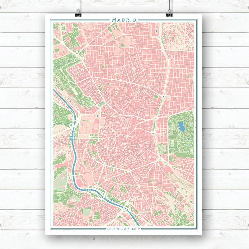 Mapa estilo vintage de Madrid en vertical