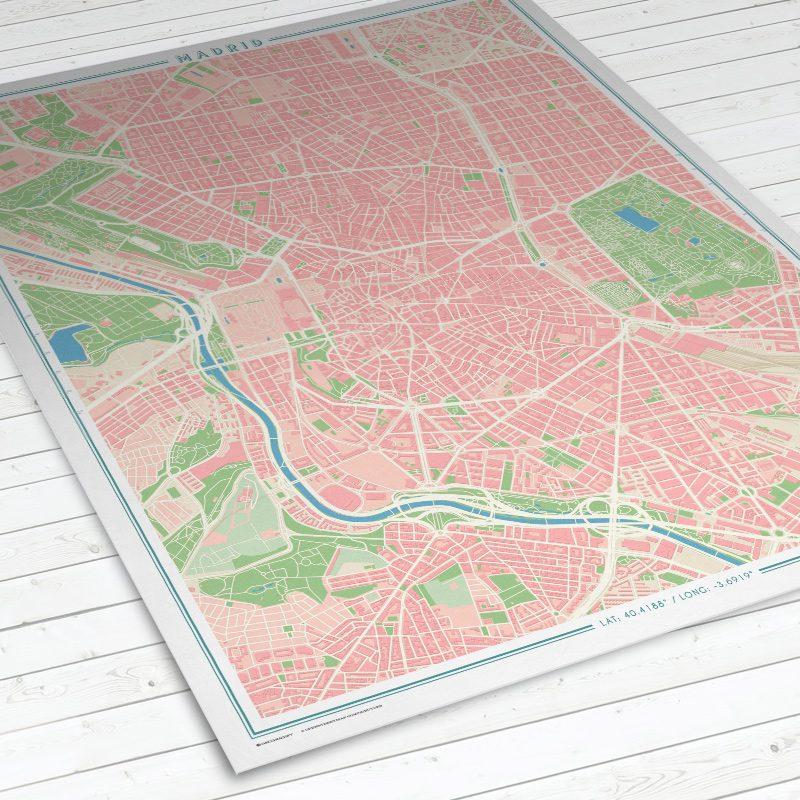 Vista del mapa de Madrid con estilo Vintage en vertical