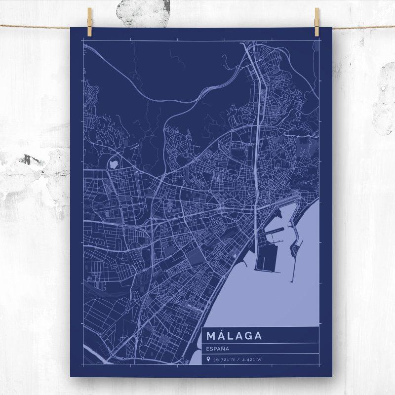 Mapa de estilo Blueprint de Málaga