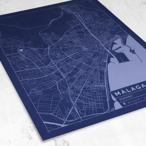 Vista del mapa de estilo Blueprint de Málaga