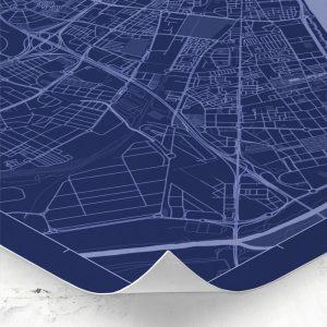 Detalle del mapa de estilo Blueprint de Málaga