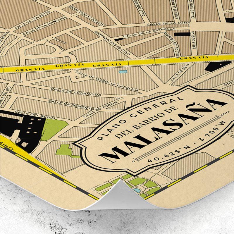 Detalle del plano del Barrio de Malasaña de Madrid