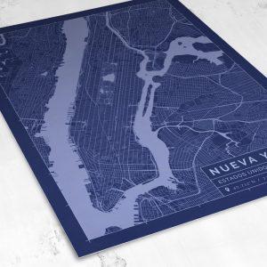 Vista del mapa de estilo Blueprint de Nueva York