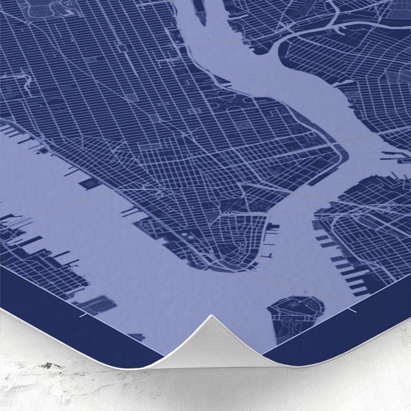 Detalle del mapa de estilo Blueprint de Nueva York