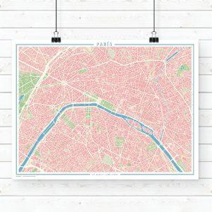 Mapa estilo vintage de París