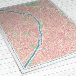 Vista del mapa de París con estilo Vintage
