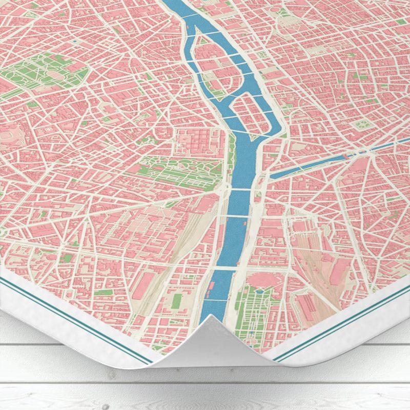 Detalle del mapa de París con estilo Vintage