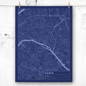 Mapa de estilo Blueprint de París