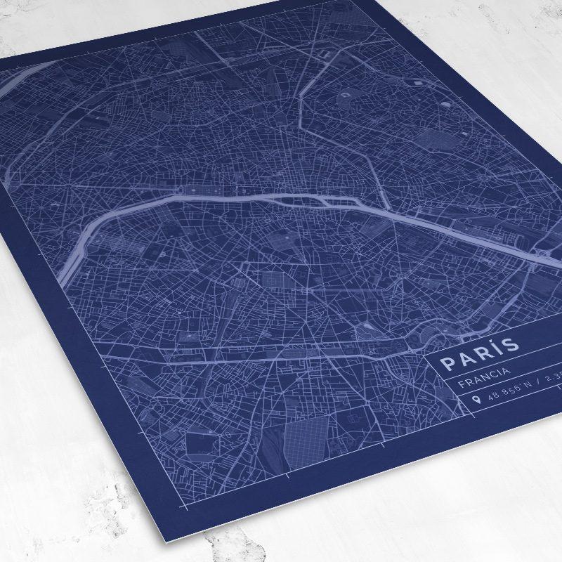 Vista del mapa de estilo Blueprint de París