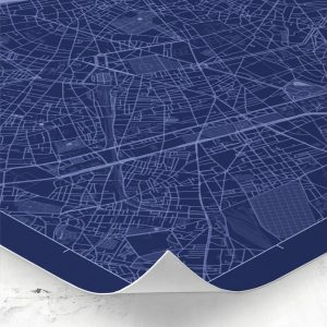 Detalle del mapa de estilo Blueprint de París