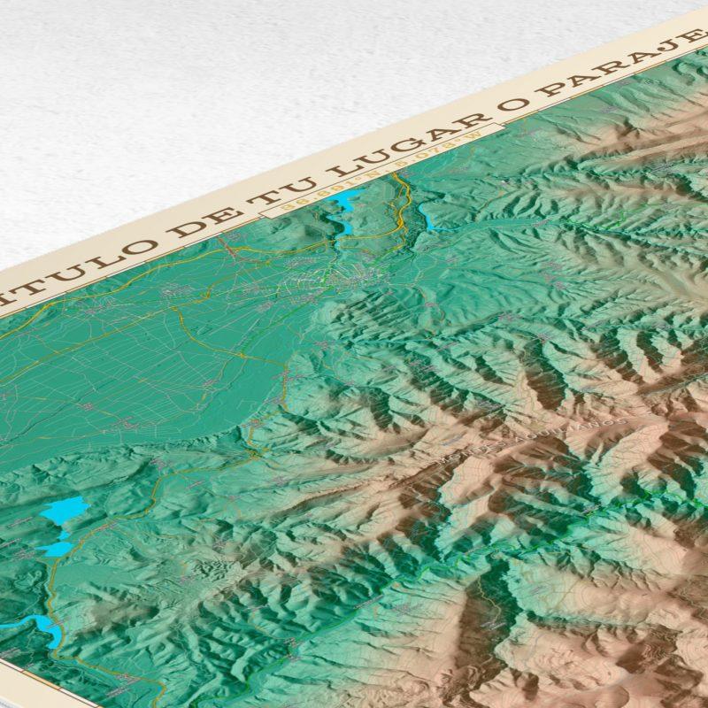 Detalle superior del mapa topográfico para personalizar