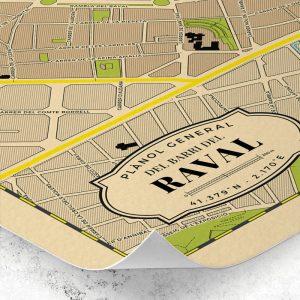 Detalle del plano del Barrio del Raval de Barcelona